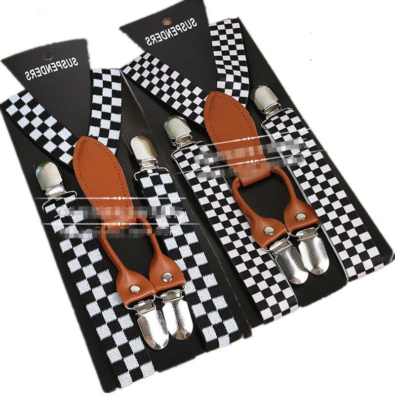 BD067--10pcs/lot Free Shipping Fashion  Black White Plaid Kids Suspenders Elastic Adjustable Baby Leather  4 Clips Braces