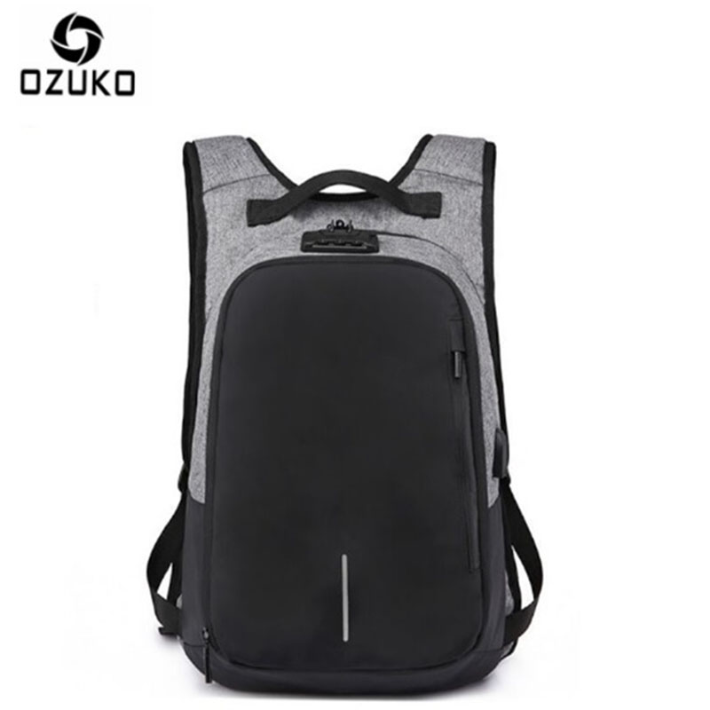 OZUKO Canvas Backpack Men USB Charge Password Lock Anti Theft Three-Dimensional Backpack European And American Style Travel Bag face recognition using three dimensional and multimodal images