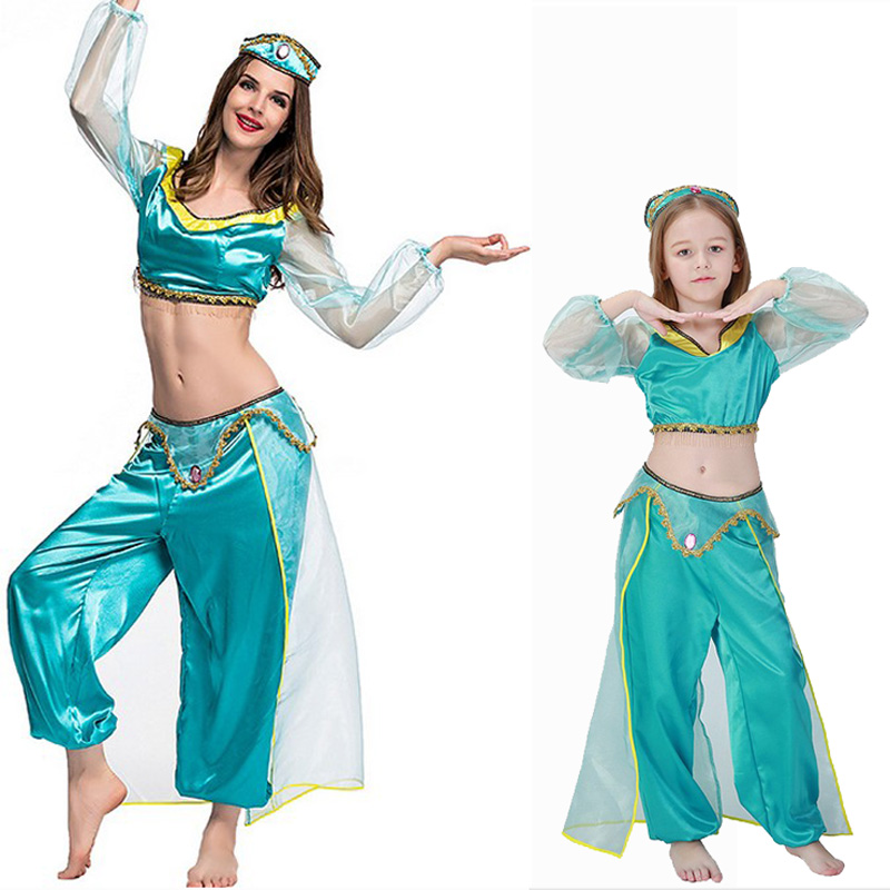 adult women halloween party cosplay kid children girl princess jasmine costume aladdins lamp clothes clothing - Halloween Jasmine