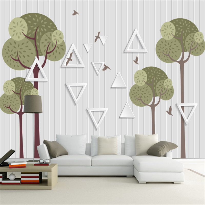 custom modern 3d photo high quality non-woven murals wallpaper 3d simple line abstract tree TV background wall home decor beibehang high quality modern home tree