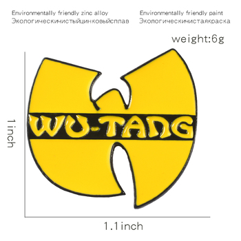 Hip Hop Band Enamel Pin Yellow Logo Old School Brooches Wu tang Kung Fu Lapel Pin Badge Cool Gift for Music Fans 2