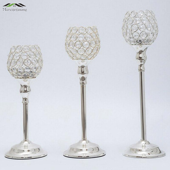 3pcs/lot New metal silver plated candle holders with crystals stand pillar for wedding romantic decoration candelabra wholesale
