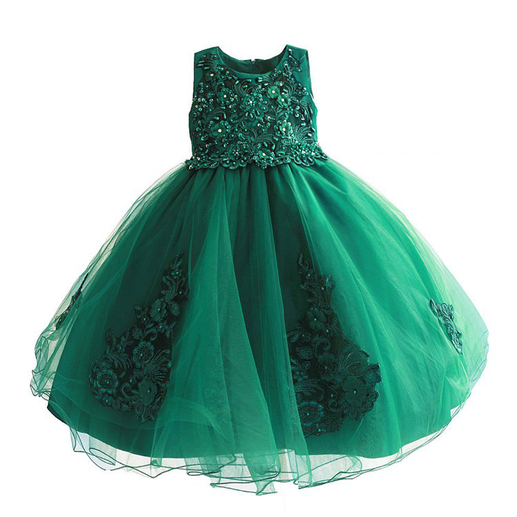 6300a59abe839 US $27.1 12% OFF|Baby Girls Green Beading Dress 2018 Kids Evening Dress  Children Princess Dresses For Party And Wedding 4 9T-in Dresses from Mother  & ...