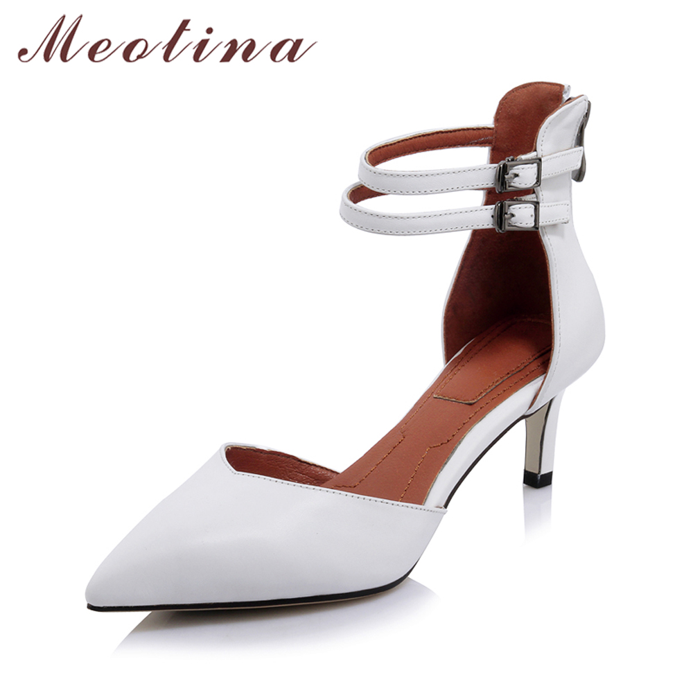 Meotina Women Pumps High Heels Genuine Leather Shoes Ankle Strap Shoes Thin Heels Zip Autumn Office Lady Work Pumps White Black цены онлайн