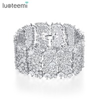 LUOTEEMI New Hyperbole Design Luxury Bracelet for Women Party Wedding Exquisite Shiny CZ Stainless Steel Jewelry Christmas Gift