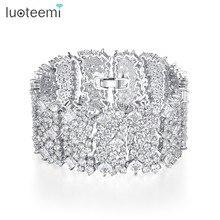 LUOTEEMI nowa hiperbola Design luksusowa bransoletka dla kobiet wesele wykwintne błyszczące CZ biżuteria ze stali nierdzewnej prezent na boże narodzenie