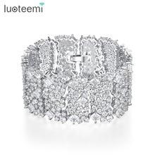 Luoteemi新誇張デザイン高級女性パーティー結婚式絶妙な光沢のあるczステンレス鋼ジュエリークリスマスギフト