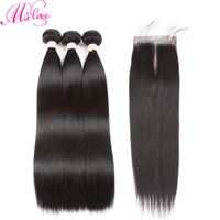 Mslove Indian Hair Straight Human Hair 3 Bundles Deal With 4 4 Lace Closure Natural Color