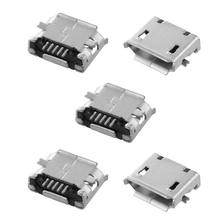 5pcs USB Micro B 5pin Female Jack Connector SMT Socket Surface Mount Metal Electronic Parts Silver Tone Black 7 x 5 x 2mm(China)