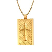 Gold color cross tag Pendant necklaces 316L Stainless Steel for men wholesale