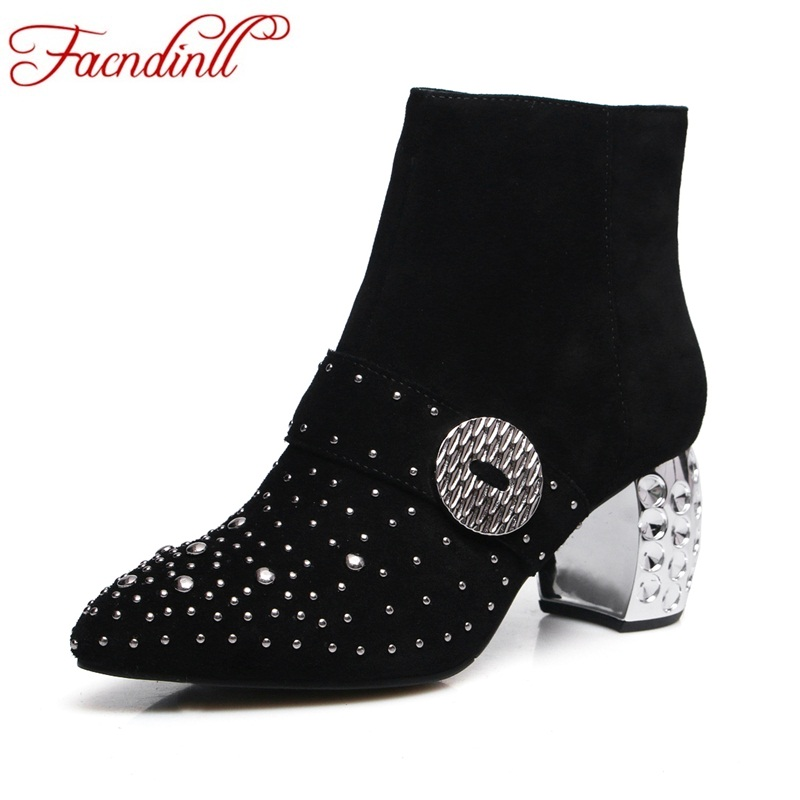 FACNDINLL new autumn winter ankle boots for women shoes genuine leather high heels crystal shoes woman dress party riding boots