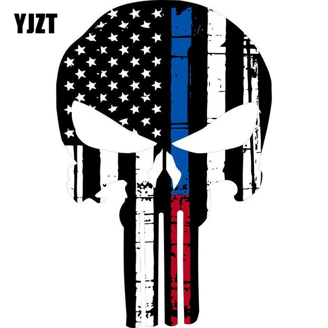 YJZT 9.9CMX15CM Thin Red Blue Line Punisher USA Flag Fashionable Car  Stickers Motorcycle Decals 14d1a20a332