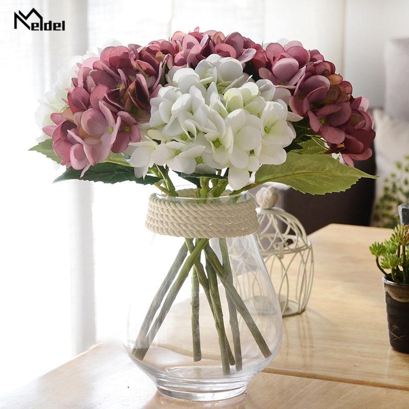 Meldel Bridal Bridesmaid Wedding Bouquet White Blue Artificial Silk Hydrangea Flowers DIY Home Party Prom Decor Wedding Supplies