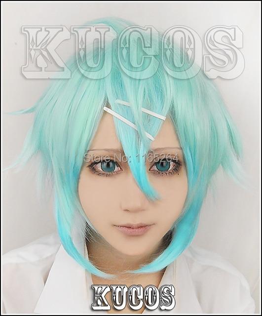 Espada arte Cosplay Online Sinon Cosplay peluca de color azul para mujer espada arte Online Sinon Cosplay peluca