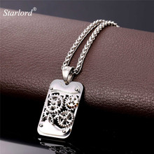 Starlord Mechanical Gear Rivet Pendant Necklace Steampunk Industry Charm Fashion Rope Chain For Men Hip Hop Jewelry Gift GP2358