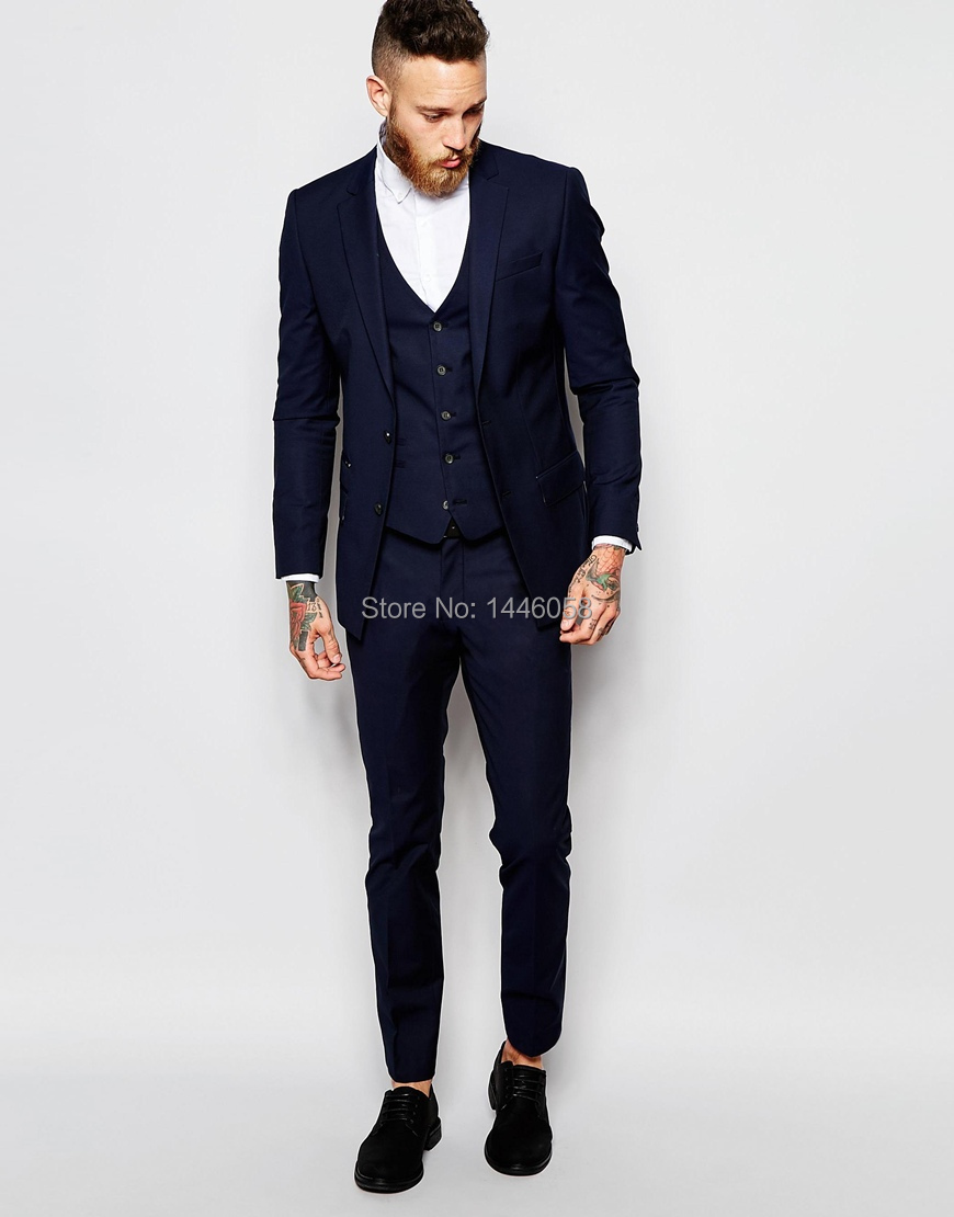 Aliexpress.com : Buy 2017 Men Formal Suits Groom Wear Navy Blue