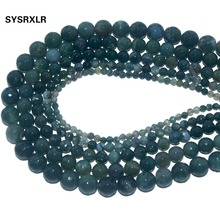 цена Wholesale Faceted Natural Stone Moss Grass Agates Loose Beads For Jewelry Making DIY Bracelet Necklace 4 6 8 10 12 MM Strand онлайн в 2017 году