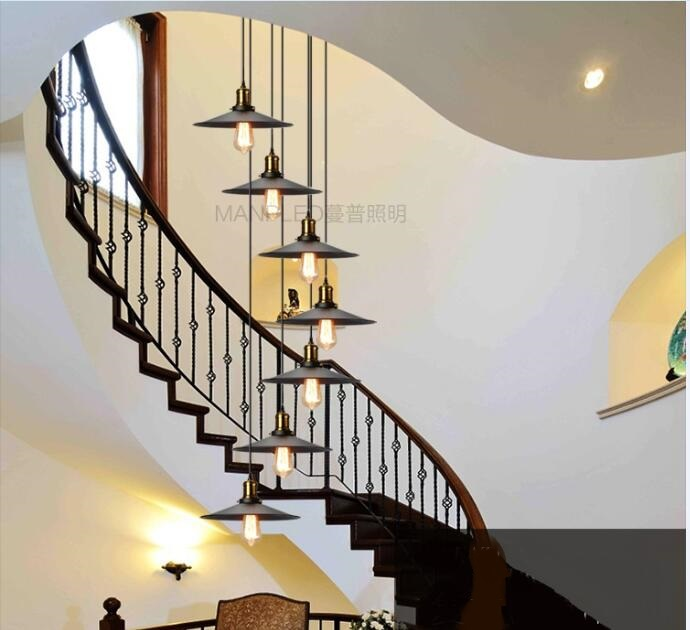 Luzes Escadas Industrial Vento Duplo Rotação Escada Longo Pingente  Pendurado Luzes Restaurante Penthouse Villa Country Bar FG48