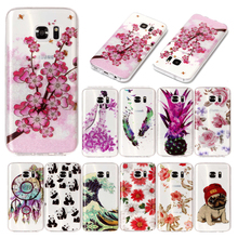 For Samsung S 7 S7 G930 G930F Transparent Case Animal Flower Silicone TPU Skin Soft Back Cover Case for Samsung Galaxy S7 G9300 все цены