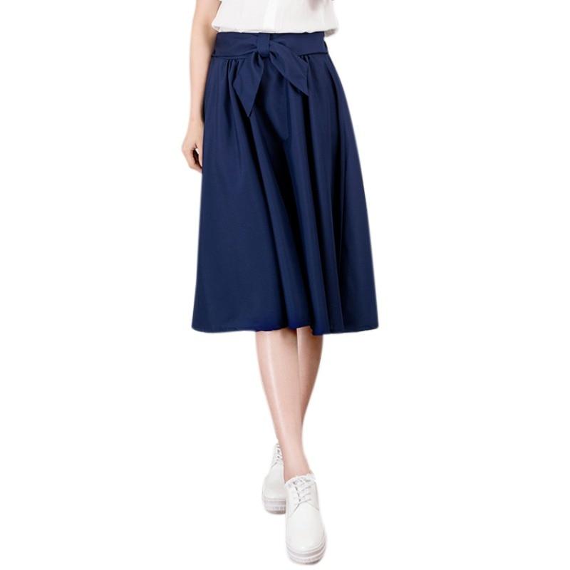 Elegant Women Skirt High Waist Pleated Knee Length Skirt Vintage A Line Big Bow Skirts