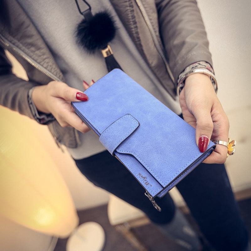 Ultra-thin candy-colored matte leather wallet with strap women purse
