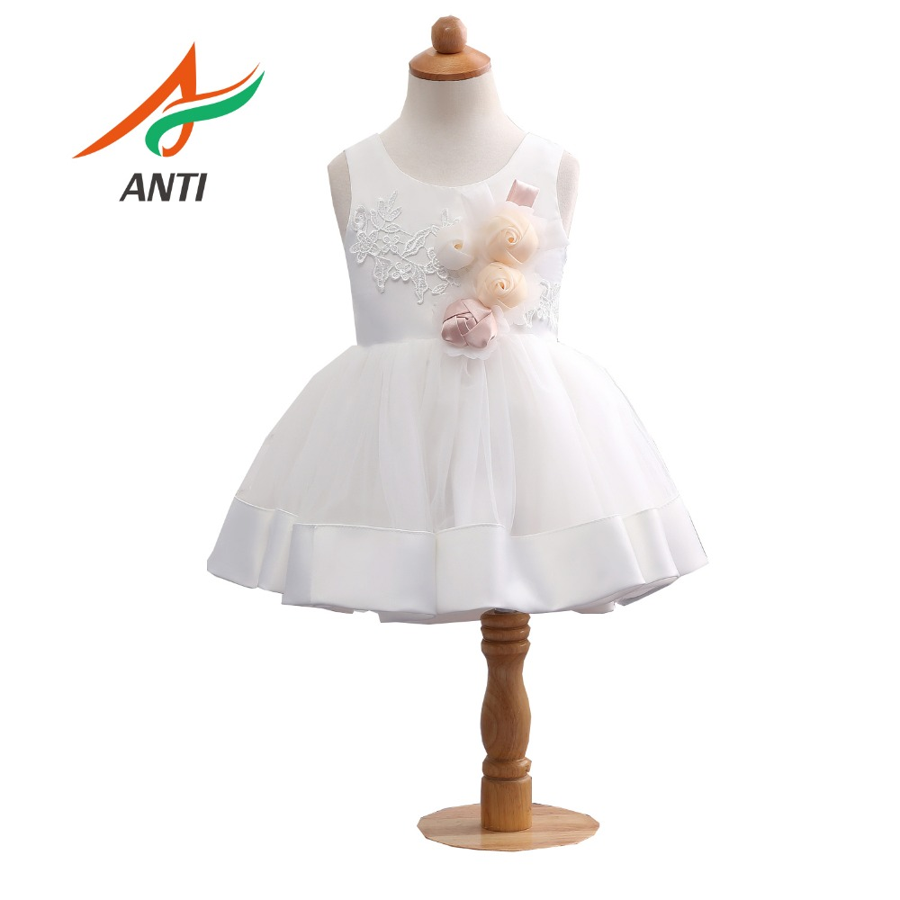 Anti Lovely White   Flower     Girl     Dresses   Kids For Wedding Party Elegant Princess   Girl   Formal   Dress   First Communion   Dress   in stock