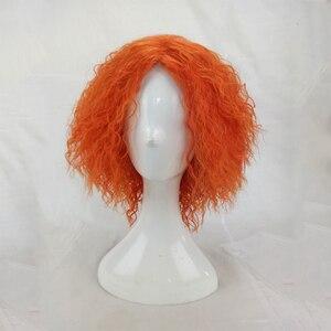 Image 2 - Hairjoyマッドハッターコスプレ変態カーリーウィッグ人工毛女性ミディアムの長さのオレンジグリーンかつら高温繊維