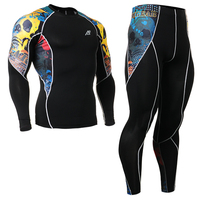 Life On Track Men S Fitness Clothes Set Compression Pants Sports T Shirt Long Sleeve 4
