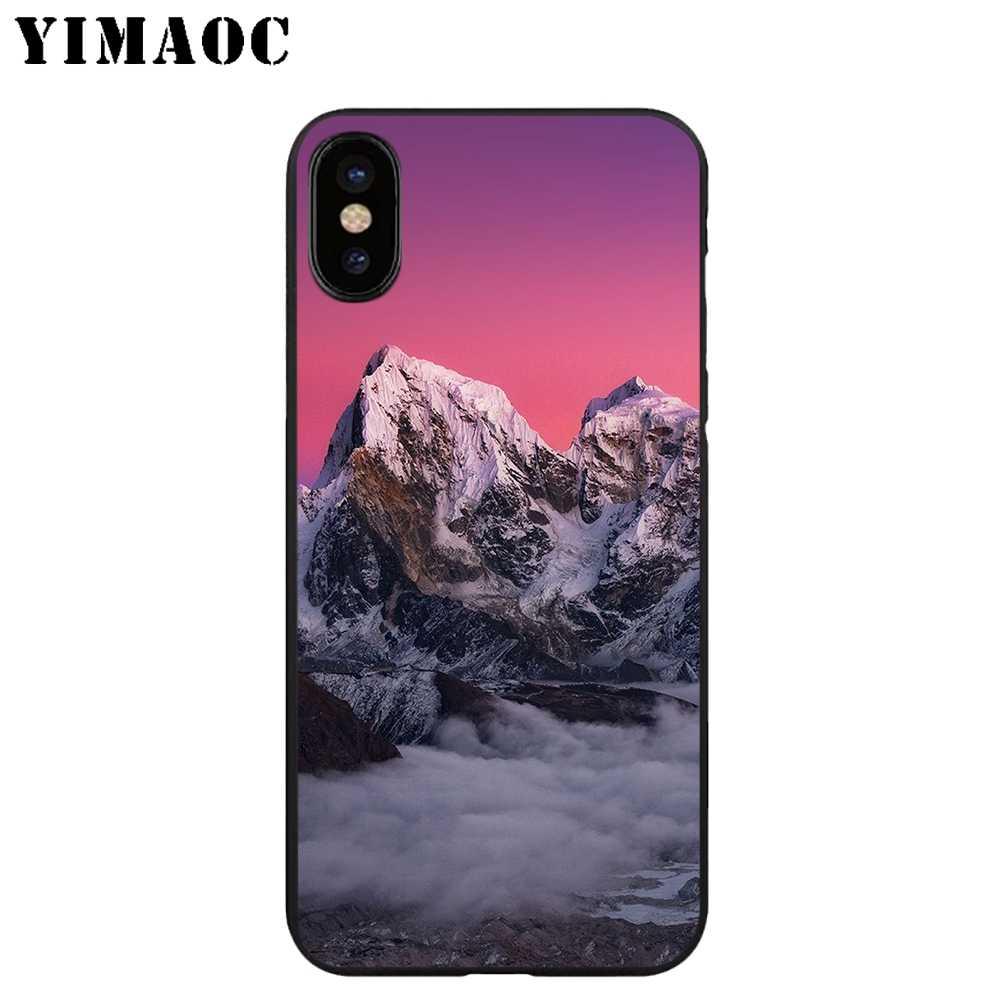 YIMAOC el sol oscuro montañas suave TPU negro silicona funda para iPhone X o 10 8 7 6S plus 5 5S SE Xr Xs.