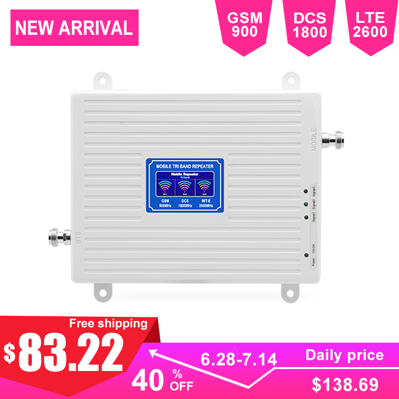 70dB Gain 2G 4G Cellular Signal Booster Smart Phone LTE 2600 Internet DCS GSM Repeater AGC Intelligent LCD Display Triband  -