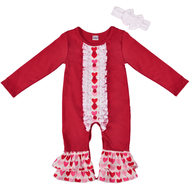 dbc38c5a8df0 Wholesale Price Baby Clothes Newborn Valentine s Day Pajamas Girl Romper  Long Sleeve Birthday Girls Boutique Clothing GPF712-024