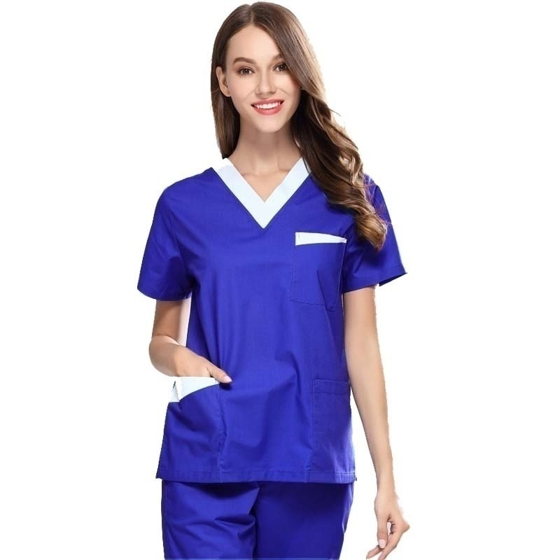 High Quality Women's Medical Uniforms Scrub TOP Short Sleeved V-neck Color Blocking Top Surgery Pharmacy Clothes (juat A Top)