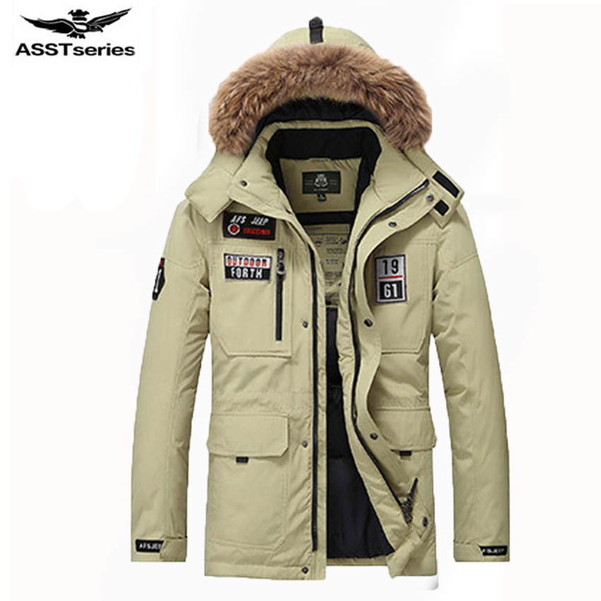 AFS JEEP winter mens down jacket middle long style winter clothing thick fur collar mens white duck down jacket coat 263 txj