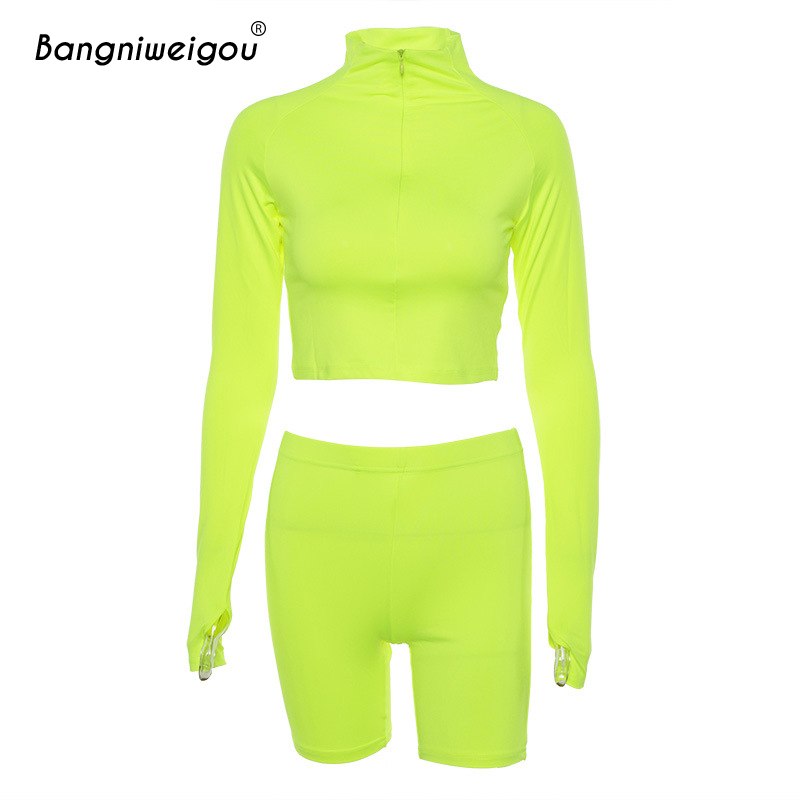 Bangniweigou Turtleneck Neon Lime Green Short Top Cycling Shorts Set Women Two Pieces Solid Pink Black Active Biker Shorts Sets