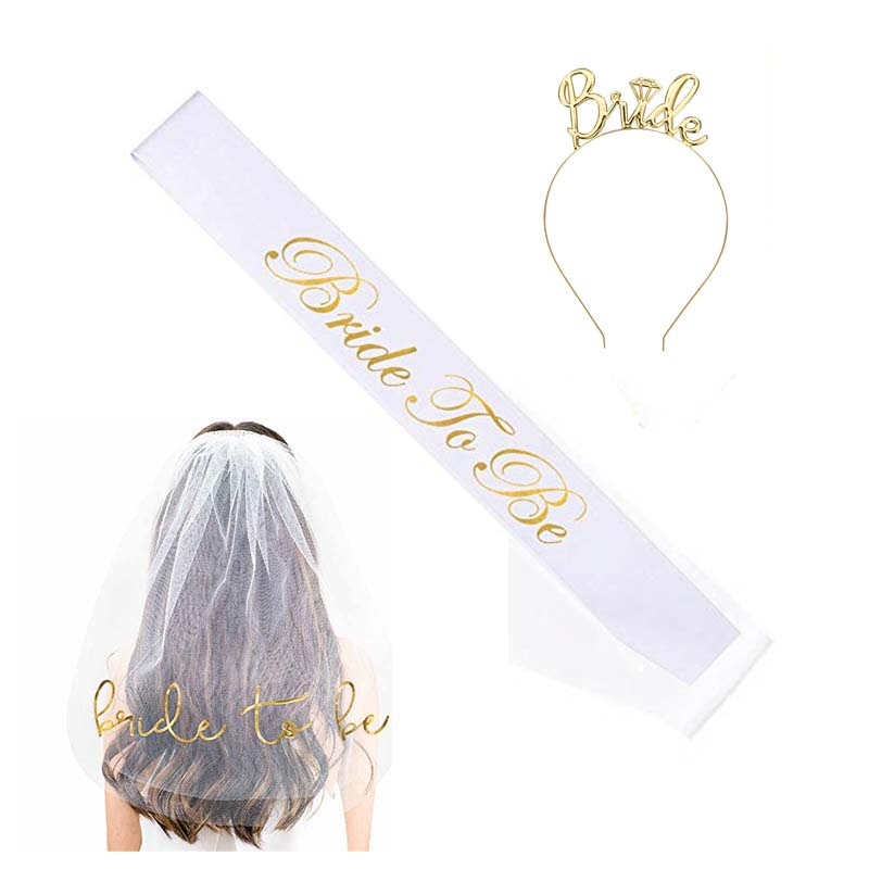 Bride To Be Sash Veil crown tiara kit for Bachelorette Hen Party Bridal Shower games Wedding Decoration Supplies gift accessory
