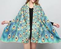 Модные кашемировый шарф печати Павлин Цветочные Пашмины шейный платок Vogue шаль