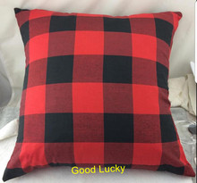 10pcs/lot new arrival 2 colors red and black buffalo plaid pillow cover Christmas monogram checked pillow case(China)