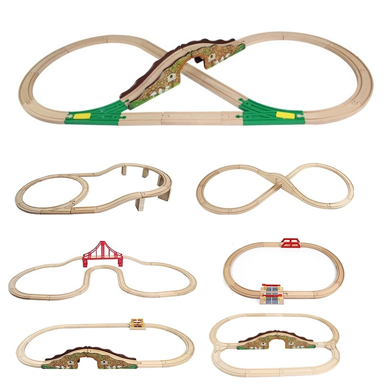 Wood Track Set Thomas Train Railway Toy Vehicle Accessories Expansion Wooden Track Rails Trains Road Track Educational Toys Kids