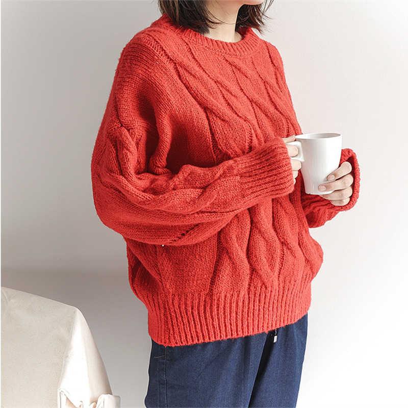 2018 rojo de invierno mujer suelta suéteres trenzados O cuello moda sólido  caqui grueso murciélago suéteres 16633e050080