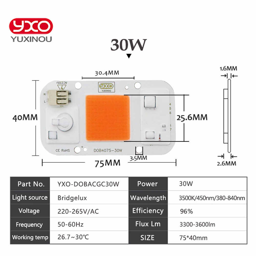 1 шт., гидропоника переменного тока 220 В 20 Вт 30 Вт 50 Вт cob, светодиодная лампа для выращивания растений, чип, полный спектр, 370nm-780nm, для выращивания растений в помещении и выращивания цветов