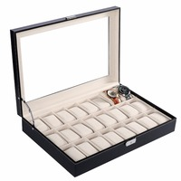 HOMDOX Large Synthetic Leather Glass Top 24 Watch Holder Display Storage With Lock Store Jewelry Organizer Box Case N20A