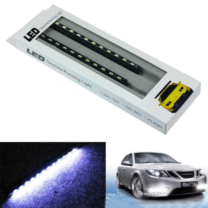 kongyide Healight Bulbs 2x 12V 18LED Car DRL Fog Driving Lamp Strip Daytime Running Light NOV10