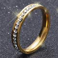 Never Fade Gold Plated Ring Stainless Steel Jewelry Titanium Men's Engagement Rings Wedding Rings For Women G18