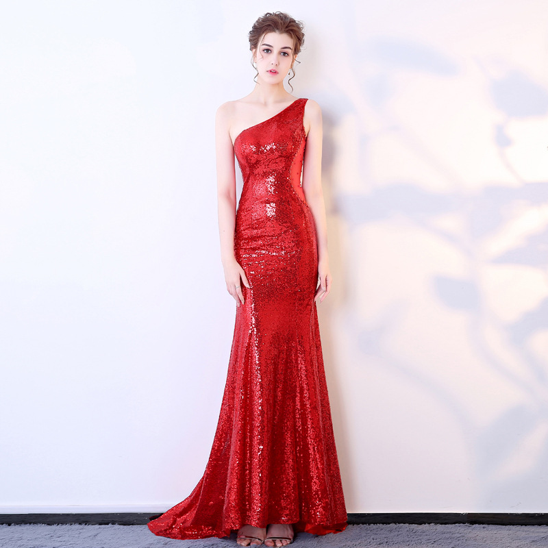 2017 Sexy Dresses Off Shoulder Sequins Womens Elegant Cosplay Costume Evening Prom Formal Club Autumn Winter Long Red Lace Dress