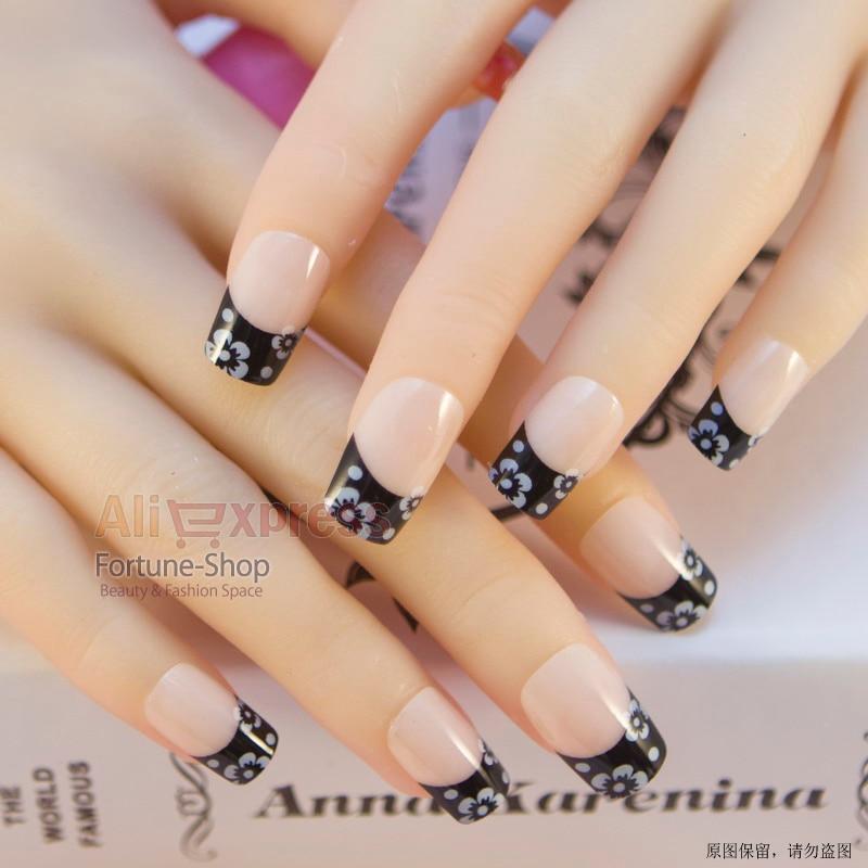 JQ 24pc/set Pretty false nails tips box with glue pre nail designs ...