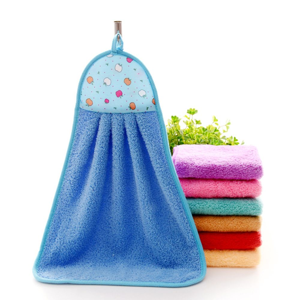 1pcs Hand Towel Plush Hanging Kitchen Bathroom Thick Soft Cloth Wipe Towel Cotton Non Oil Stick