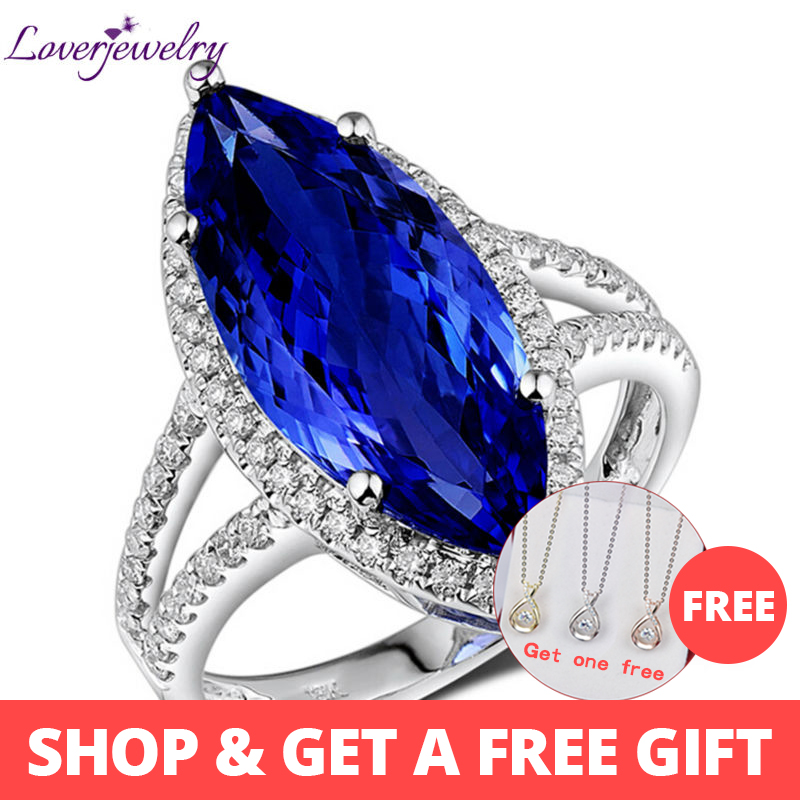 Rings For Women Super Stone Attractive Marquise 8x18mm Real 18K White Gold Diamond Tanzanite Engagement Party Ring Fine Jewelry