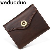 Weduoduo New Men Wallet 100% Genuine Leather Casual Credit Card Holder Luxury Short Hasp Women Purse