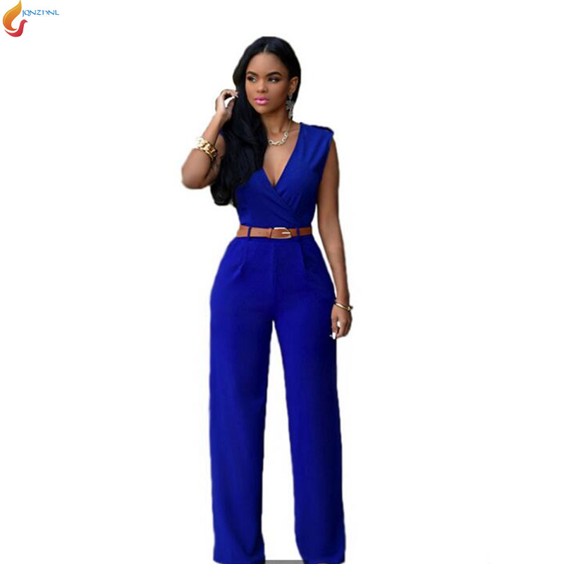 Europe United 2018 Summer New Fashion Women Loose Leisure Pure Color V-neck Sleeveless Sexy Jumpsuits G0720