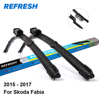 Refresh Front Rear Wiper Blades For Skoda Fabia 24 16 Fit Push Button Arms 2015 2016